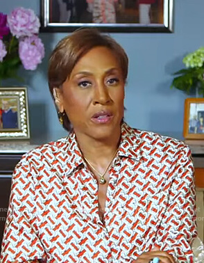 Robin's orange and white print blouse on Good Morning America