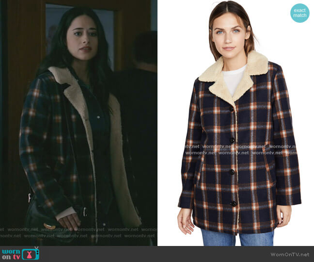 Check Sherpa Coat by Rolla's worn by Liz Ortecho (Jeanine Mason) on Roswell New Mexico
