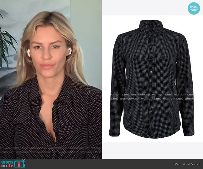 Signature Polka Dot Shirt by Saint Laurent worn by Morgan Stewart  on E! News