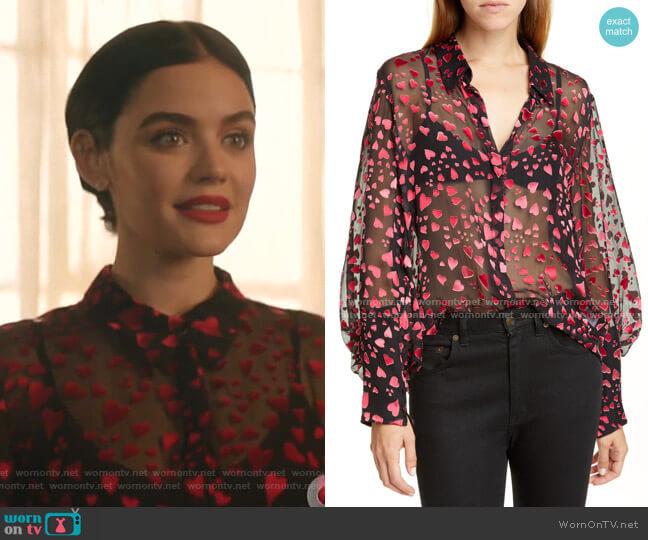 Joana Metallic Silk Jacquard Shirt by Saloni worn by Katy Keene (Lucy Hale) on Katy Keene