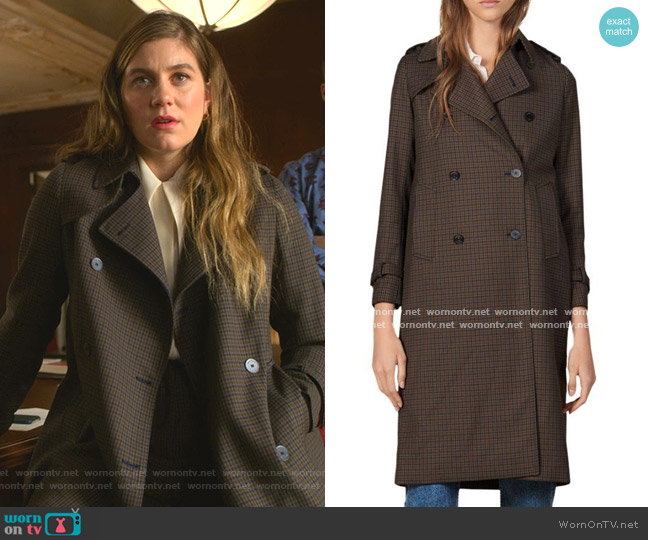 Even Check Trench Coat by Sandro worn by McAfee (Laura Dreyfuss) on The Politician