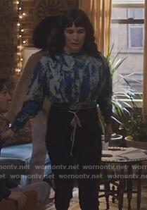 Sara's blue tie dye cropped sweatshirt on Love Life