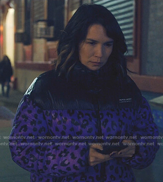 Sara's purple leopard puffer jacket on Love Life