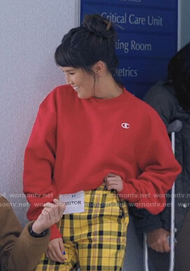 Sara's red cropped sweatshirt on Love Life