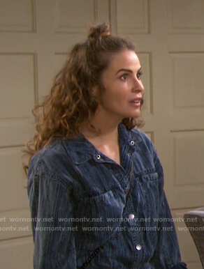 Sarah's blue striped coveralls on Days of our Lives