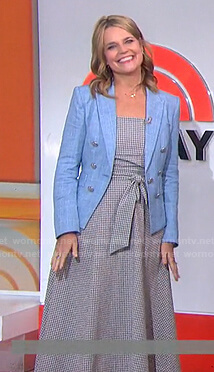 Savannah's blue blazer and gingham check dress on Today