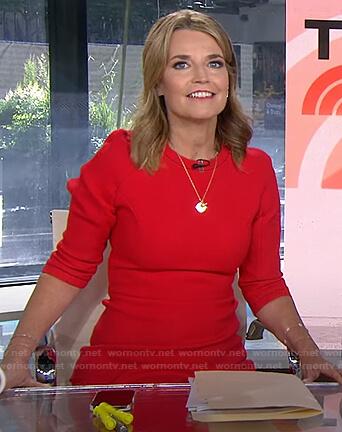 Savannah's red three quarter sleeve dress on Today