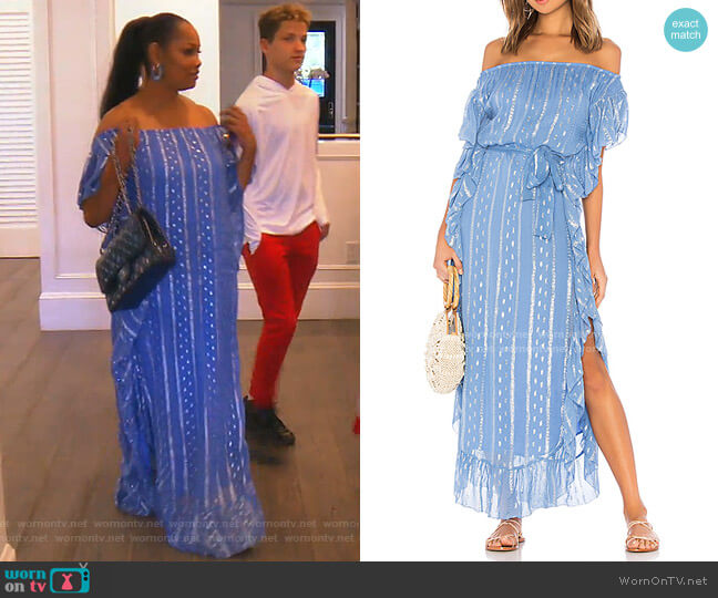 Ruffled Metallic-Print Maxi Dress by Saylor worn by Garcelle Beauvais  on The Real Housewives of Beverly Hills
