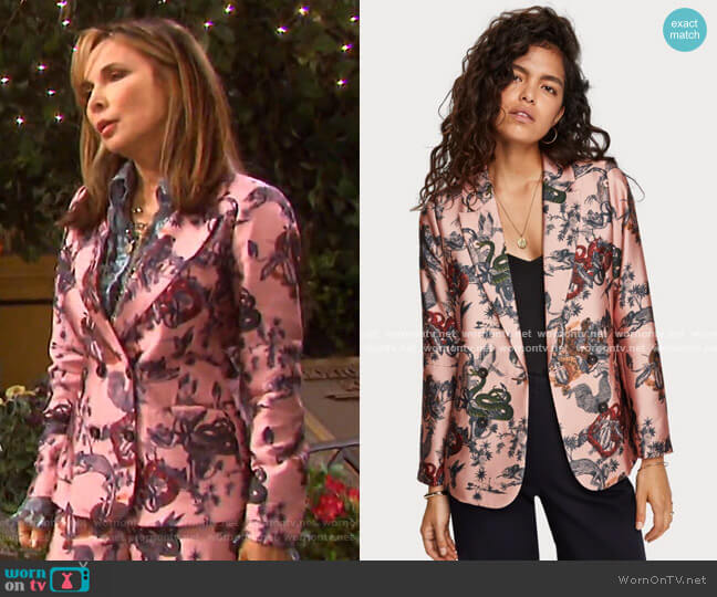 Printed Double Breasted Blazer by Scotch & Soda worn by Kate Roberts (Lauren Koslow) on Days of our Lives
