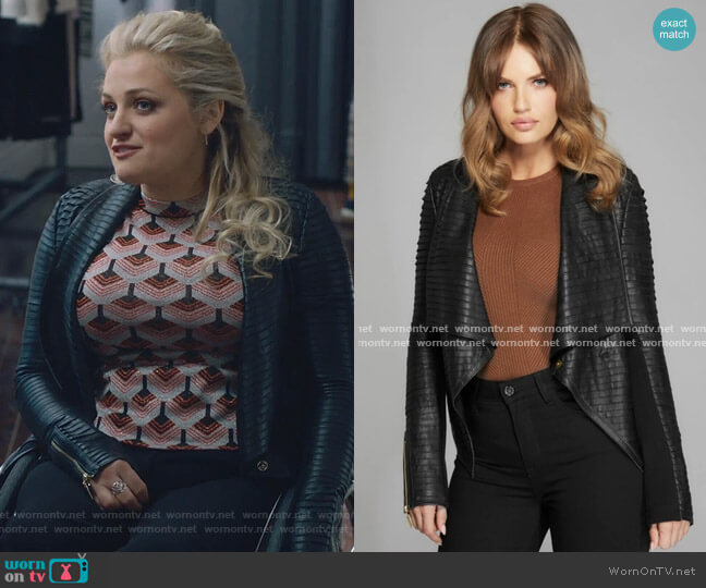 Shayna Drape Leather Jacket by Guess on The Bold Type