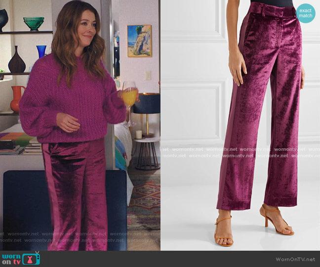 Sonya Crushed-Velvet Pants by Sies Marjan worn by Nadia Quinn on Love Life