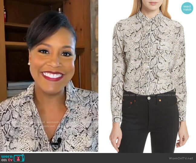 Slim Signature Python Print Silk Shirt by Equipment worn by Sheinelle Jones  on Today