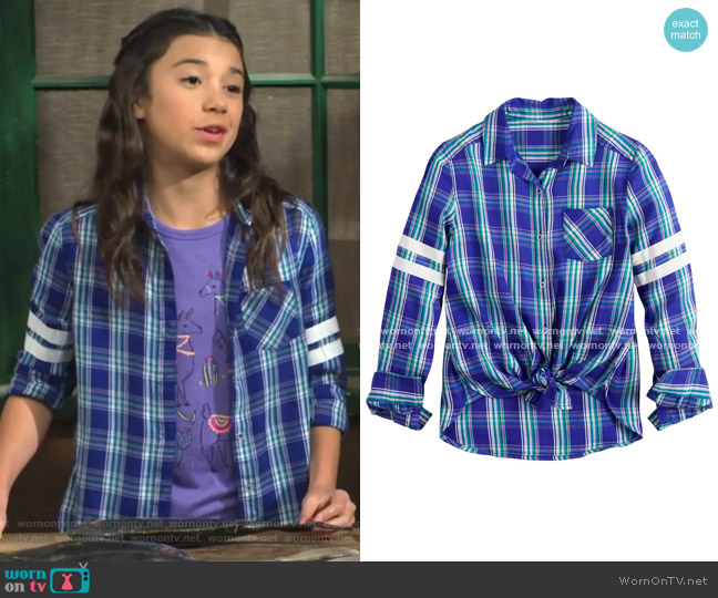 One-Pocket Button-Front Shirt by SO at Kohl's worn by Gwen (Scarlett Estevez) on Bunkd