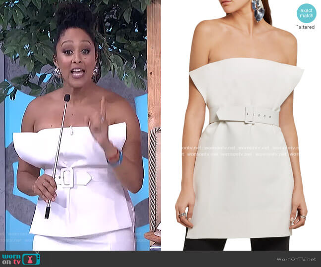 Ammie Strapless Belted Crepe Top by Solace London  worn by Tamera Mowry  on The Real