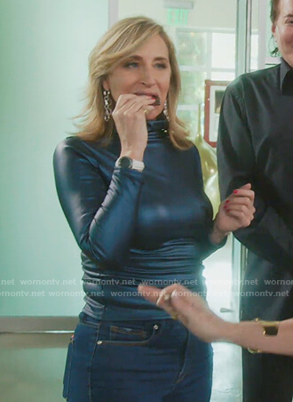 Sonja's blue leather turtleneck top on The Real Housewives of New York City