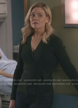 Stephanie's green wrap sweater on Good Witch