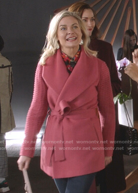 Stephanie's pink ribbed sleeve wrap coat on Good Witch
