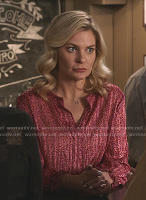 Stephanie's pink floral striped blouse on Good Witch