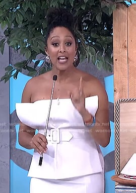 Tamera's white belted strapless top on The Real