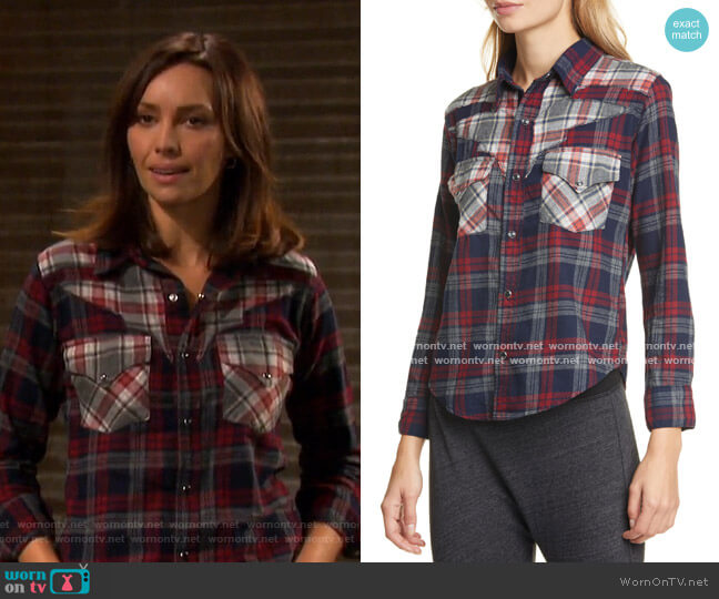 Teagan Western Shirt by NSF worn by Gwen Rizczech (Emily O'Brien) on Days of our Lives