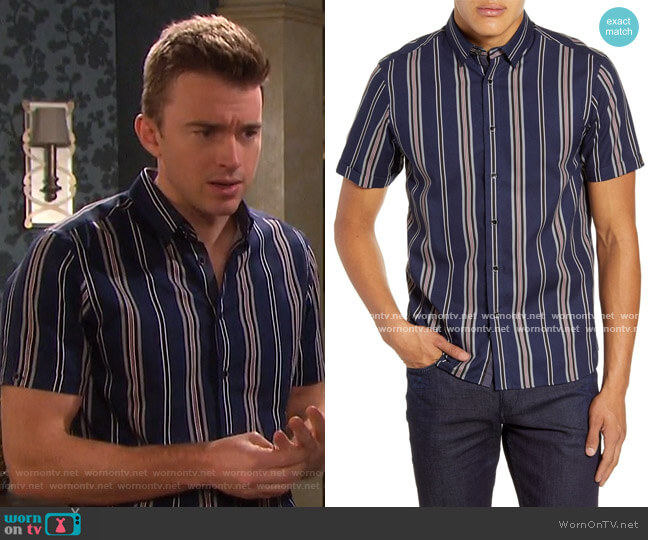Doigt Striped Slim Fit Shirt by Ted Baker worn by Chandler Massey on Days of our Lives