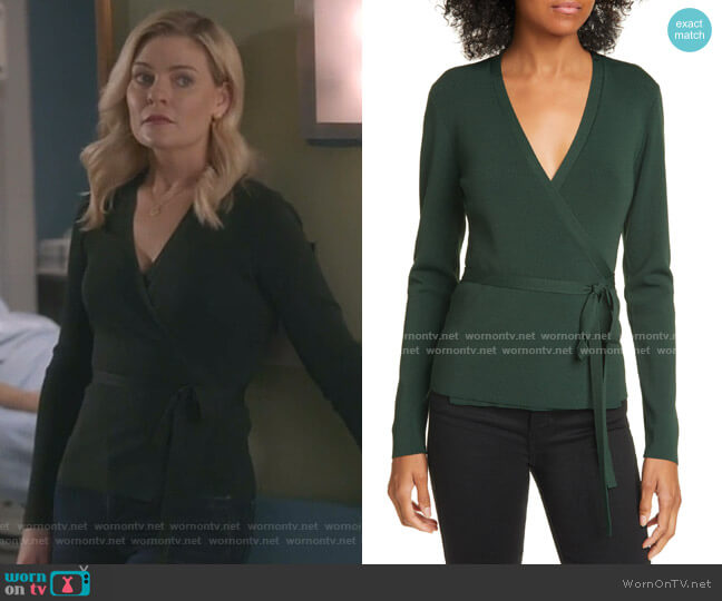 Gworji Long Sleeve Wrap Sweater by Ted Baker worn by Stephanie Borden (Kylee Evans) on Good Witch