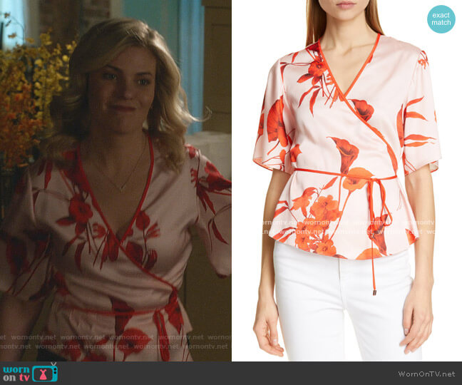 Melonyy Fantasia Wrap Top by Ted Baker worn by Stephanie Borden (Kylee Evans) on Good Witch