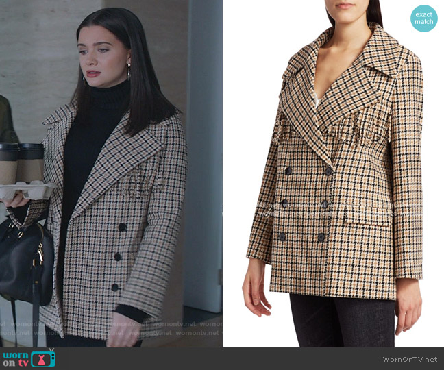 Fringe-Trim Double-Breasted Plaid Blazer by The Kooples worn by Jane Sloan (Katie Stevens) on The Bold Type