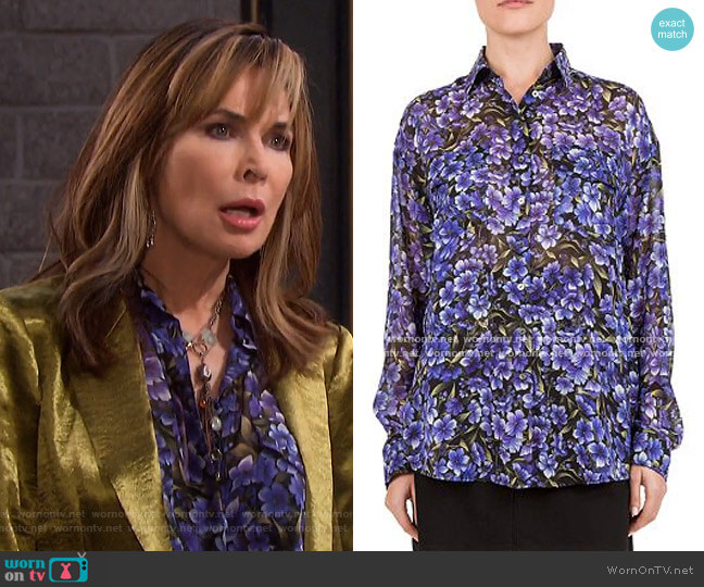 Hortensia Silk Shirt by The Kooples worn by Kate Roberts (Lauren Koslow) on Days of our Lives
