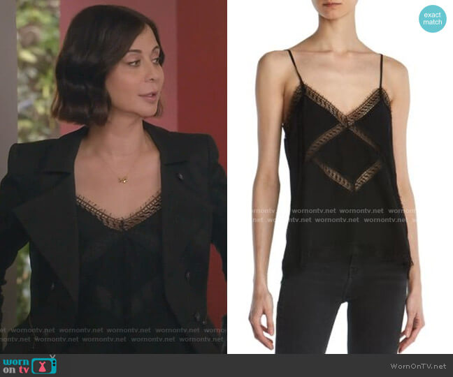 Lace-Trimmed Silk Camisole Top by The Kooples worn by Cassandra Nightingale (Catherine Bell) on Good Witch