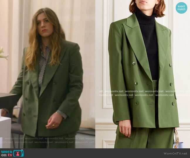 Double-Breasted Woven Blazer by Tibi worn by McAfee (Laura Dreyfuss) on The Politician