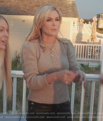 Tinsley's beige eyelet sweater on The Real Housewives of New York