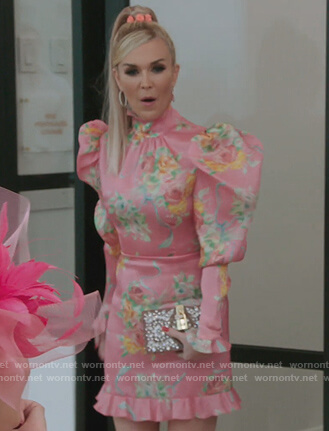 Tinsley's pink floral puff sleeve dress on The Real Housewives of New York City