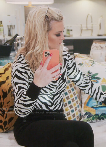 Tinsley's white zebra stripe sweater on The Real Housewives of New York City