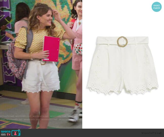 Broderie Belted Shorts by Topshop worn by Gwenny (Kerri Medders) on Alexa & Katie