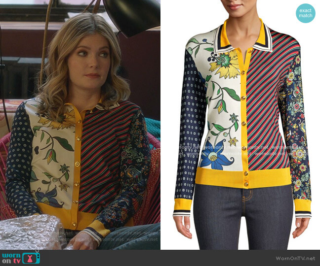 Print Block Cardigan by Tory Burch worn by Sutton (Meghann Fahy) on The Bold Type