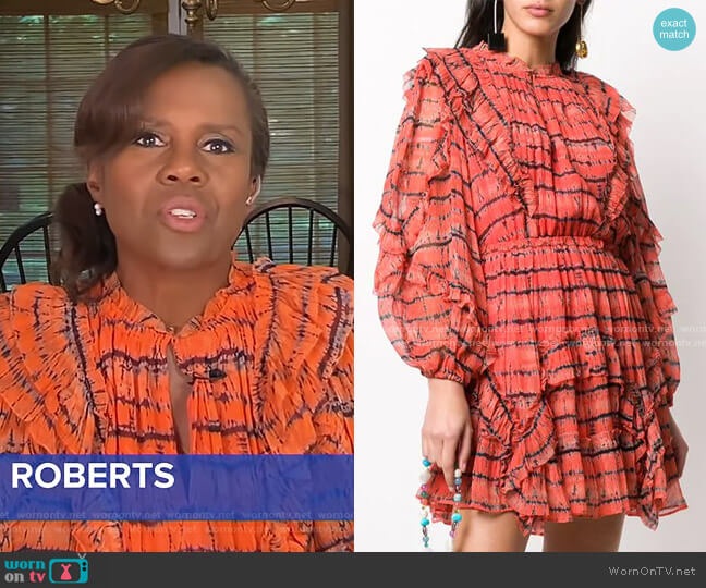 Aberdeen Ruffled Dress by Ulla Johnson worn by Deborah Roberts  on Good Morning America