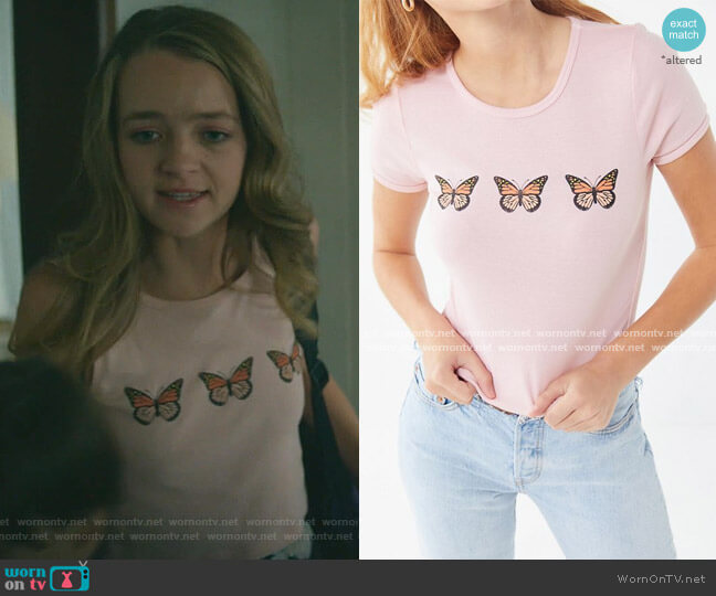 Butterfly Cropped Tee by Truly Madly Deeply at Urban Outfitters worn by Anna Jacoby-Heron on Dirty John