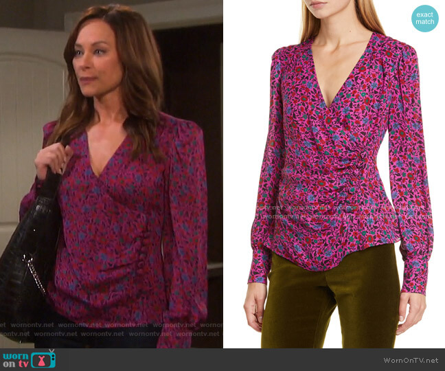 Shirley Surplice Side Button Top by Veronica Beard worn by Alyshia Ochse on Days of our Lives