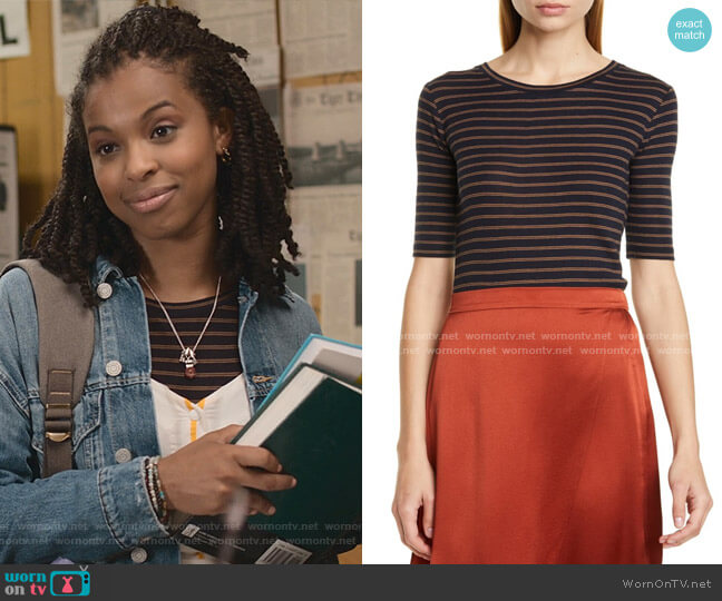 Double Stripe Crew Neck T-Shirt by Vince worn by Ani (Grace Saif) on 13 Reasons Why