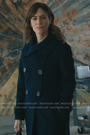 Wendy's navy double breasted coat on Billions