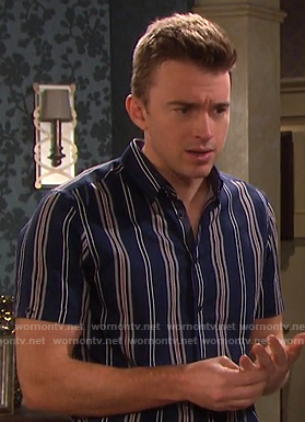 Will's blue striped short sleeve shirt on Days of our Lives