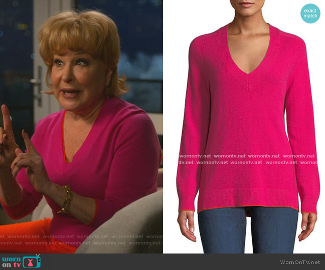 Yorke Cashmere V-Neck Sweater with Mesh Panels by Rag and Bone worn by Hadassah Gold (Bette Midler) on The Politician