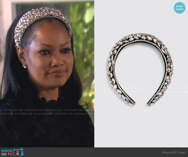 Bejewelled Padded Headband by Zara worn by Garcelle Beauvais  on The Real Housewives of Beverly Hills