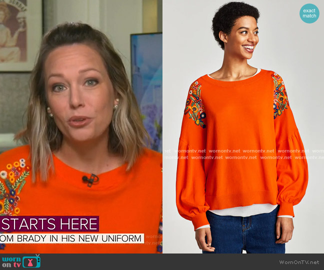 Embroidered Sweater by Zara worn by Dylan Dreyer  on Today