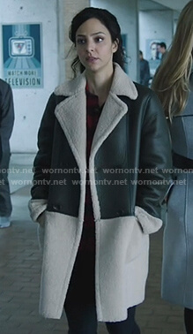 Zari's leather shearling coat on Legends of Tomorrow