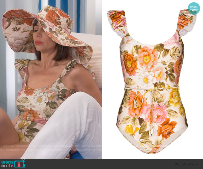 Ruffle Trimmed Floral Print Swimsuit by Zimmermann worn by Jackie (Pauley Perrette) on Broke