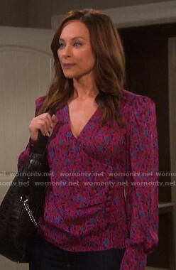 Zoey's pink floral side button blouse on Days of our Lives