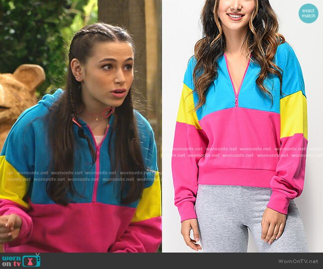 Roane Colorblock Half Zip Hoodie by A-Lab worn by Sky Katz on Bunkd