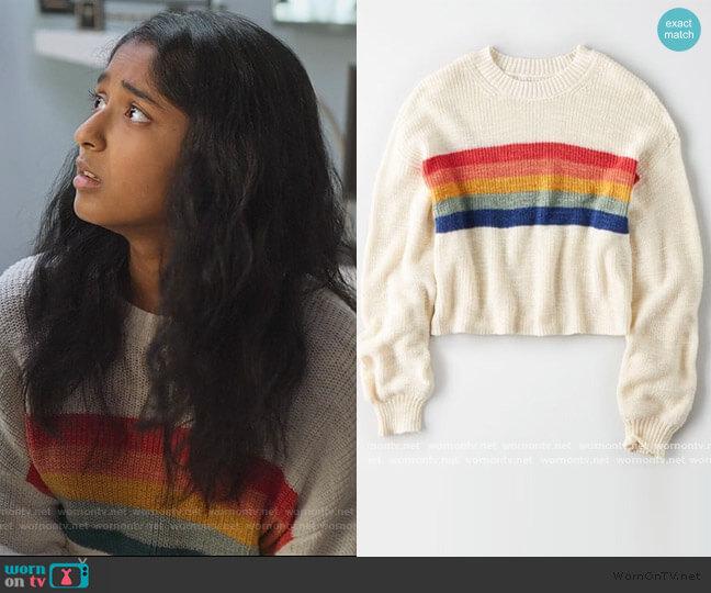 Rainbow Striped Sweater by American Eagle worn by Devi Vishwakumar (Maitreyi Ramakrishnan) on Never Have I Ever